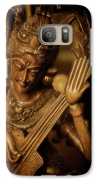 Galaxy Case featuring the photograph Oriental Wooden Princess Playing Instrument by Dave Garner