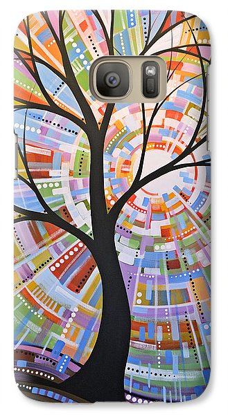 Galaxy Case featuring the painting Original Abstract Tree Landscape Painting ... Here Comes The Sun by Amy Giacomelli