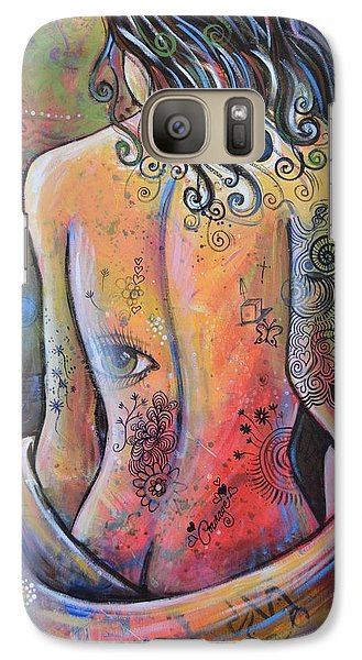 Galaxy Case featuring the painting Original Painting Woman Art Art Print ... The Company You Keep by Amy Giacomelli