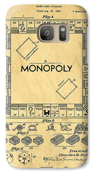 Original Patent For Monopoly Board Game Galaxy S7 Case by Edward Fielding