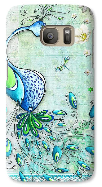 Peacock Galaxy S7 Case - Original Peacock Painting Bird Art By Megan Duncanson by Megan Duncanson