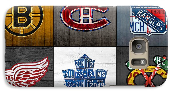 Original Six Hockey Team Retro Logo Vintage Recycled License Plate Art Galaxy S7 Case