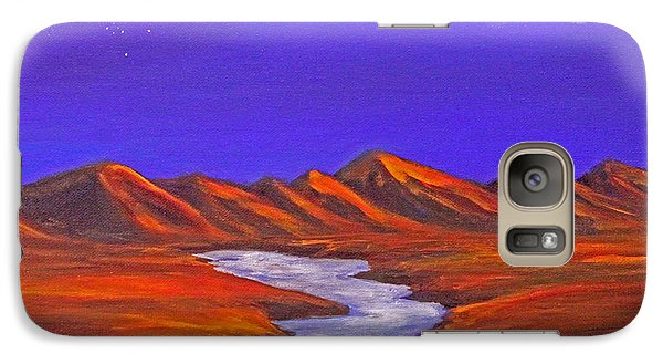 Galaxy Case featuring the painting Orion And Moon by Janet Greer Sammons
