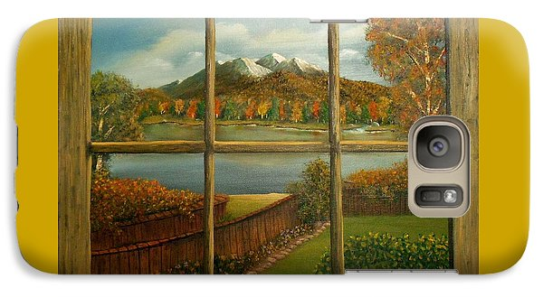 Galaxy Case featuring the painting Out My Window-autumn Day by Sheri Keith
