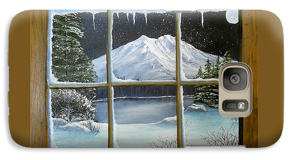 Galaxy Case featuring the painting Out My Window-bright Winter's Night by Sheri Keith