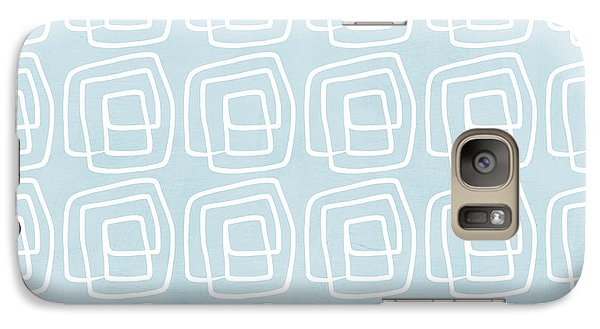 Out Of The Box Blue And White Pattern Galaxy Case by Linda Woods