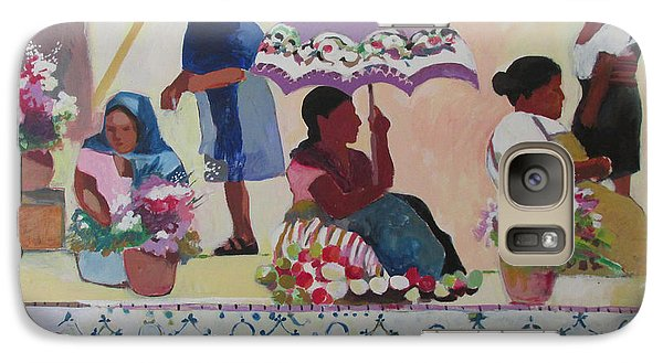 Galaxy Case featuring the painting Outdoor Market San Miguel Allende by Linda Novick