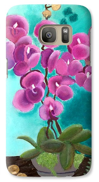 Galaxy Case featuring the painting Outstanding Orchids by Margaret Harmon
