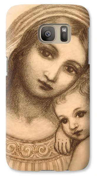 Galaxy Case featuring the mixed media Oval Madonna Drawing by Ananda Vdovic
