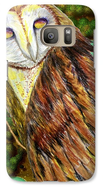 Galaxy Case featuring the drawing Owl Mixed Media by Barbara Giordano