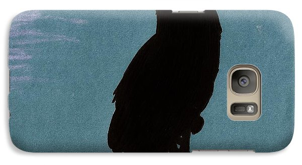 Galaxy Case featuring the drawing Owl Silhouette by D Hackett