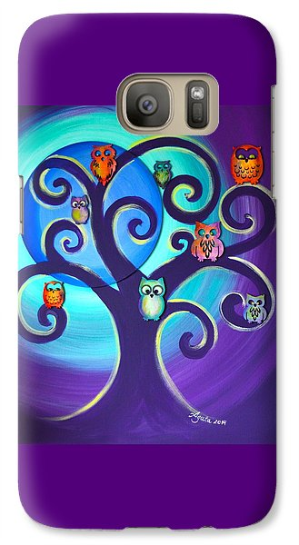 Galaxy Case featuring the mixed media Owl Sweet Family by Agata Lindquist