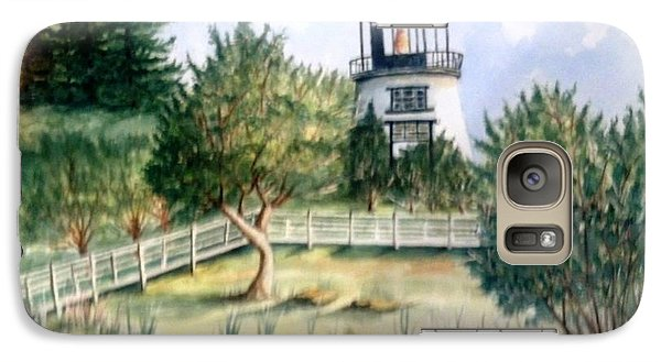 Galaxy Case featuring the painting Owls Head Maine Lighthouse by Richard Benson