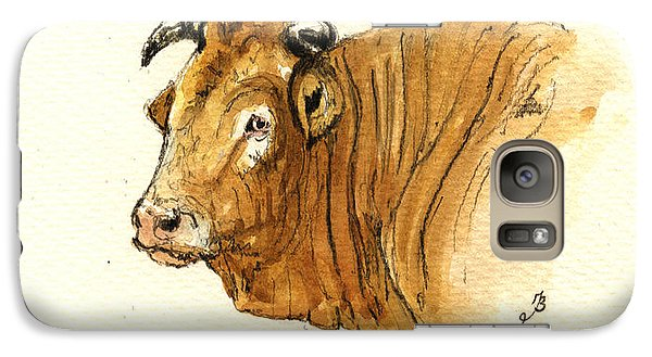 Bull Galaxy S7 Case - Ox Head Painting Study by Juan  Bosco