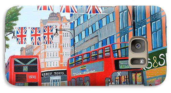 Galaxy Case featuring the painting Oxford Street- Queen's Diamond Jubilee  by Magdalena Frohnsdorff