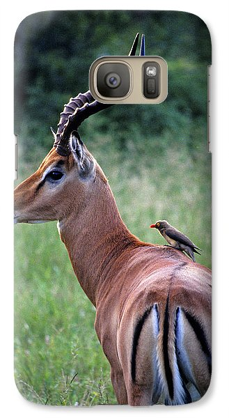 Galaxy Case featuring the photograph Oxpecker And Impala by Dennis Cox WorldViews