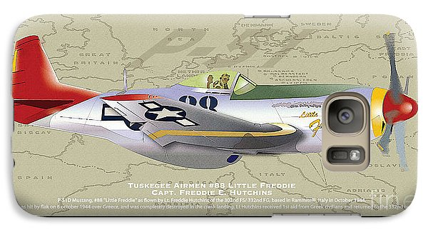 Galaxy Case featuring the drawing P-51  by Kenneth De Tore