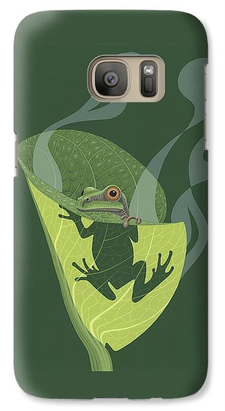 Pacific Tree Frog In Skunk Cabbage Galaxy Case by Nathan Marcy