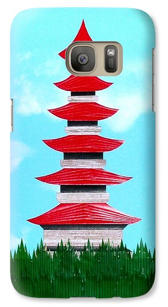 Galaxy Case featuring the mixed media Pagoda by Ron Davidson