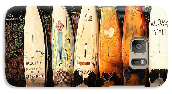 Galaxy Case featuring the painting Paia Surfboards by Janet McDonald