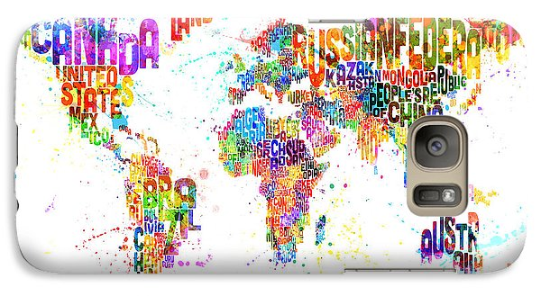 Paint Splashes Text Map Of The World Galaxy Case by Michael Tompsett