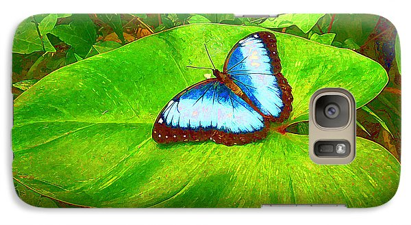 Galaxy Case featuring the photograph Painted Blue Morpho by Teresa Zieba