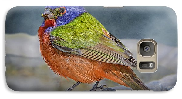 Painted Bunting In April Galaxy Case by Bonnie Barry