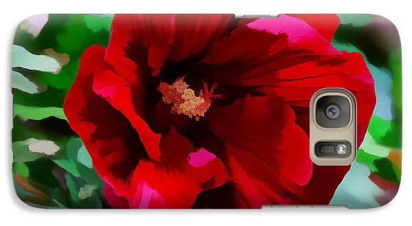 Galaxy Case featuring the digital art Painted Giant Red Hibiscus by Kathleen Stephens