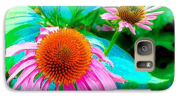 Galaxy Case featuring the photograph Painterly Coneflowers by Annie Zeno