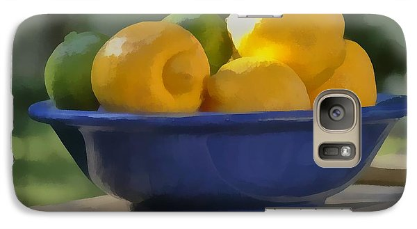 Galaxy Case featuring the photograph Paintlike Lemons And Limes In Blue Bowl by Michael Flood