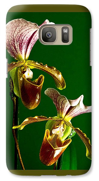 Galaxy Case featuring the photograph Pair Of Lady Slipper Orchids by Elf Evans