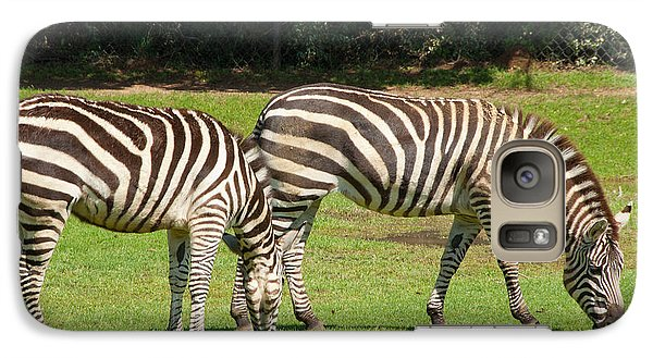 Galaxy Case featuring the photograph Pair Of Zebras by Charles Beeler