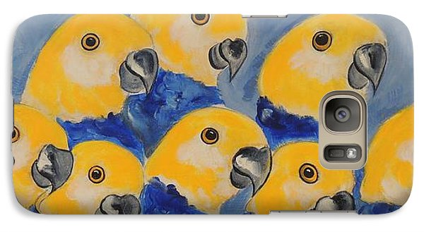 Galaxy Case featuring the painting Pale Head Parrots by Lyn Olsen