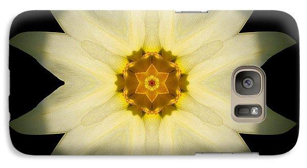 Galaxy Case featuring the photograph Pale Yellow Daffodil Flower Mandala by David J Bookbinder