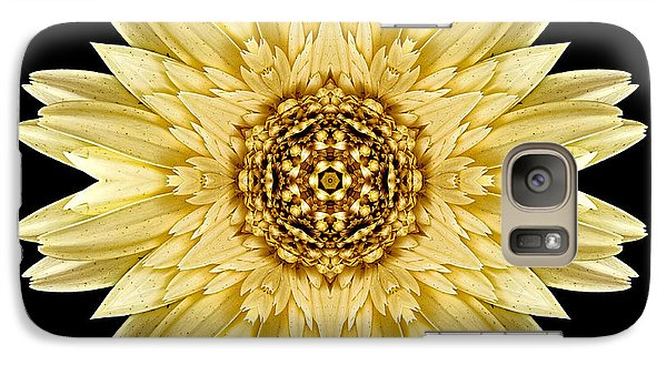Galaxy Case featuring the photograph Pale Yellow Gerbera Daisy I Flower Mandala by David J Bookbinder