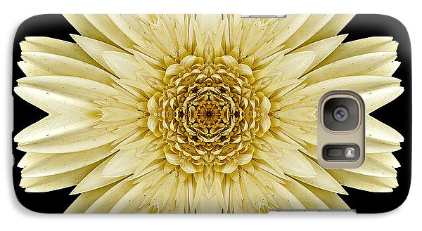 Galaxy Case featuring the photograph Pale Yellow Gerbera Daisy IIi Flower Mandala by David J Bookbinder