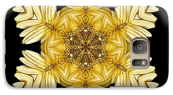 Galaxy Case featuring the photograph Pale Yellow Gerbera Daisy Vii Flower Mandalaflower Mandala by David J Bookbinder
