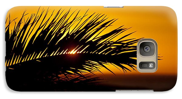Galaxy Case featuring the photograph Palm Leaf In Sunset by Yngve Alexandersson