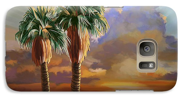 Galaxy Case featuring the painting Palm Tree Cabo Sunset by Tim Gilliland