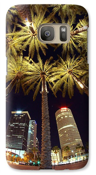 Galaxy Case featuring the photograph Palm Tree Fireworks by Daniel Woodrum
