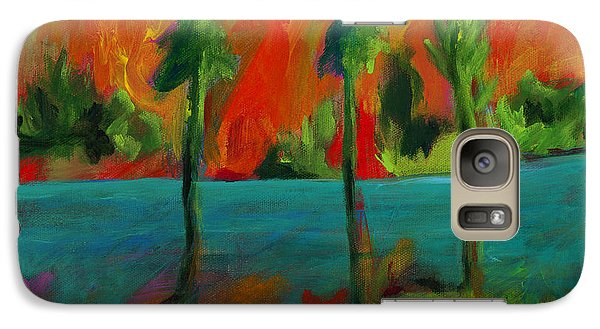 Galaxy Case featuring the painting Palm Trio Sunset by Elizabeth Fontaine-Barr