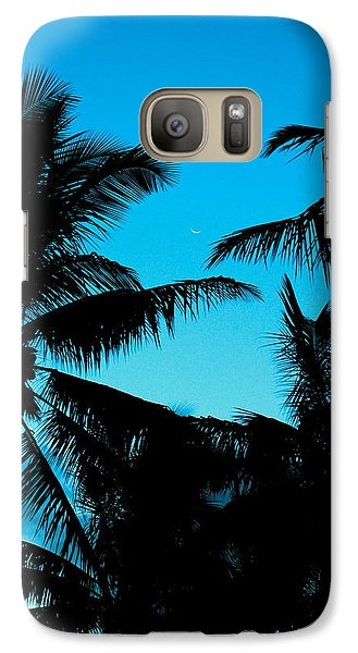 Galaxy Case featuring the photograph Palms At Dusk With Sliver Of Moon by Lehua Pekelo-Stearns