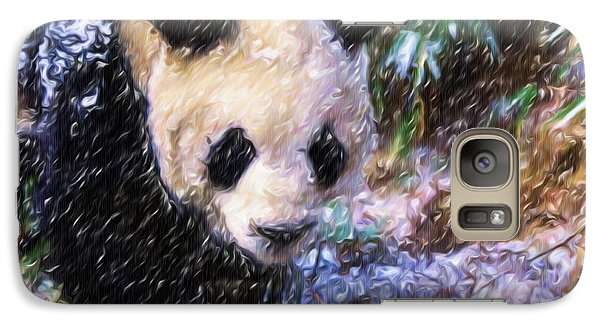 Galaxy Case featuring the painting Panda Bear Walking In Forest by Lanjee Chee