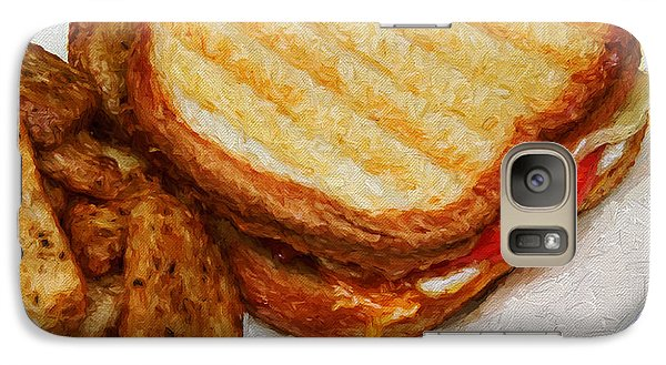 Galaxy Case featuring the photograph Panini Sandwich And Potato Wedges 2 by Andee Design