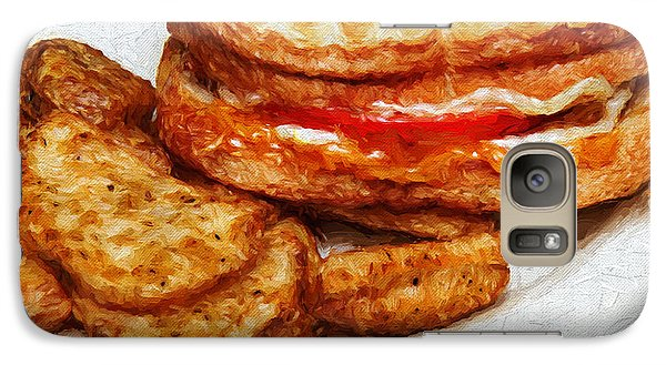 Galaxy Case featuring the photograph Panini Sandwich And Potato Wedges 3 by Andee Design