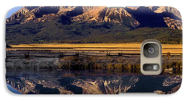 Galaxy Case featuring the photograph Panorama Reflections Sawtooth Mountains Nra Idaho by Dave Welling