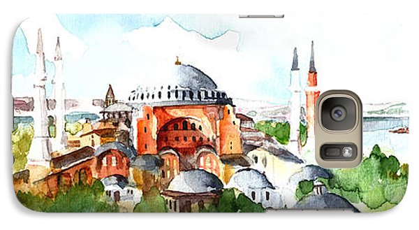 Galaxy Case featuring the painting Panoramic Hagia Sophia In Istanbul by Faruk Koksal