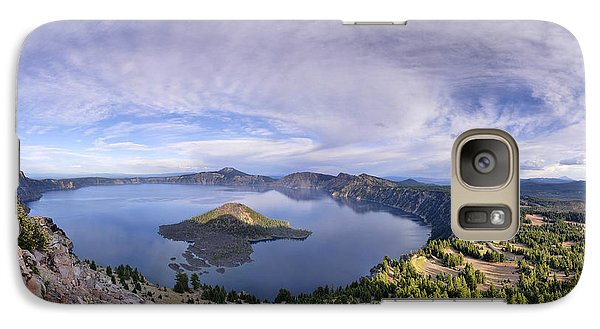 Galaxy Case featuring the photograph Panoramic View Of Crater Lake And Wizard Island by Sebastien Coursol