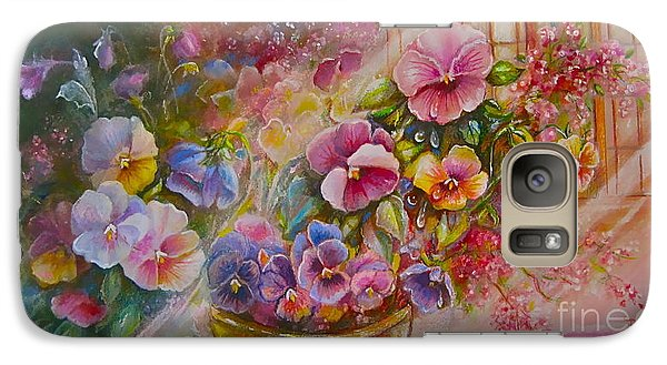 Galaxy Case featuring the painting Pansies In Gold by Patricia Schneider Mitchell