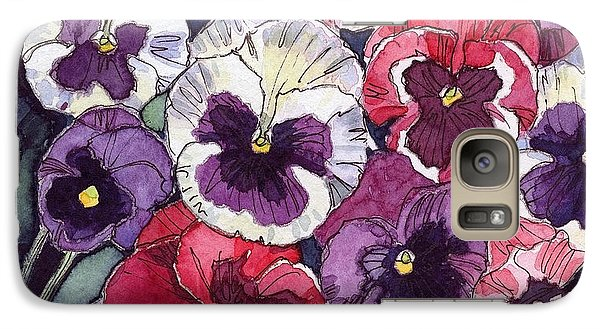Galaxy Case featuring the painting Pansies by Katherine Miller